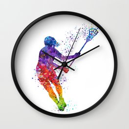Lacrosse Girl Colorful Watercolor Sports Art Gift Wall Clock