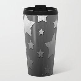 Black and White Herringbone Embossed Stars Travel Mug