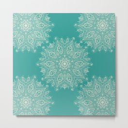 Teal and Lace Mandala Metal Print