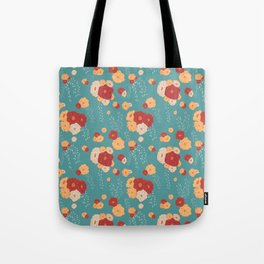 Anemone Floral Bouquets on Blue Tote Bag