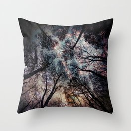 Starry Sky in the Forest Throw Pillow