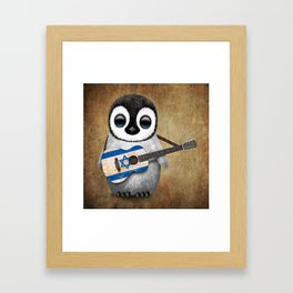 Baby Penguin Playing Israeli Flag Acoustic Guitar Framed Art Print