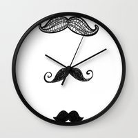 moustache Wall Clocks featuring moustache by Monique Turchan