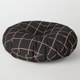 Sherwin Williams Cavern Clay SW7701 Thin Line Stripe Grid on Black Floor Pillow