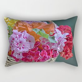 Basket of Geraniums Rectangular Pillow