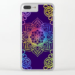 Bohemian 1960's Mandala Pattern of Creativity Clear iPhone Case