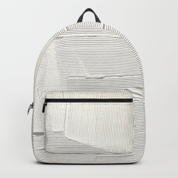 Relief [1]: an abstract, textured piece in white by Alyssa Hamilton Art Backpack