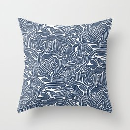 Blue Cabbage Labyrinth Throw Pillow