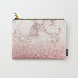 Elegant Faux Rose Gold Glitter White Marble Ombre Carry-All Pouch