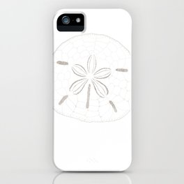 Sand Dollar Dreams - Brown on White iPhone Case