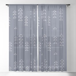 Modern Minimalist Triangle Pattern in Slate Blue Sheer Curtain