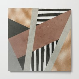 Abstract Geometric Composition in Copper, Brown, Black Metal Print