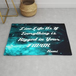 Rigged in Your Favor Rumi Quote Teal Galaxy Rug