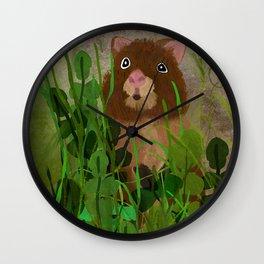 Quokka in the Grass Wall Clock