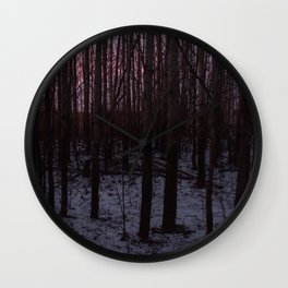 Aspen and willow trees after the sunset by frosty weather Wall Clock