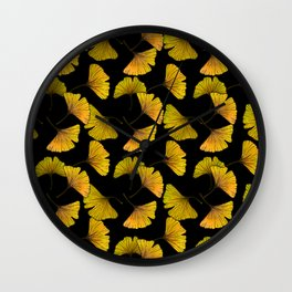 Ginkgo Leaf (Fall) - Black Wall Clock