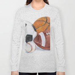 Sports Balls Watercolor Painting Long Sleeve T-shirt