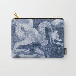 "Leonardo da Vinci ""Fight between a dragon and a lion"" (blue) Carry-All Pouch"