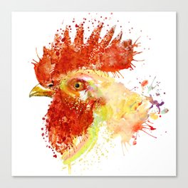 Rooster Head Canvas Print