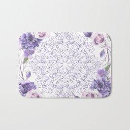 Mandala Rose Garden Lavender Purple Violet Bath Mat