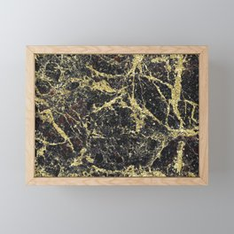 Marble - Glittery Gold Marble on Black Design Framed Mini Art Print