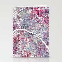 paris map Stationery Cards featuring Paris Map by MapMapMaps.Watercolors