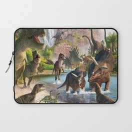 Jurassic dinosaurs in the river Laptop Sleeve