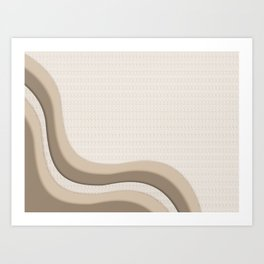 Pantone Hazelnut Soothing Waves with Canvas Texture Art Print