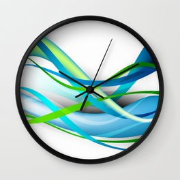 Modern Blue and Green Streamers Wall Clock