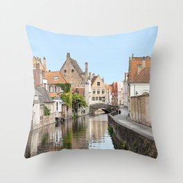 Bruges Canal in Belgium Throw Pillow