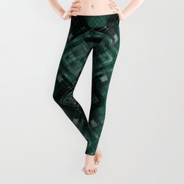 Black and green abstract pattern . Leggings