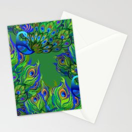 Peacock Neck Gator Blue and Green Peacocks Peacock Feathers Stationery Cards