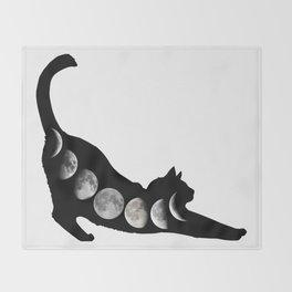 Moon Cat Throw Blanket