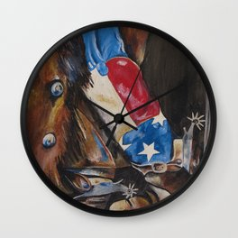 Red, White & Boot Wall Clock