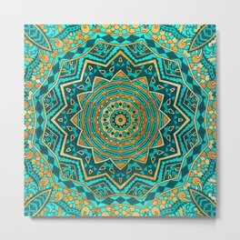 Blue Topaz Mandala Metal Print