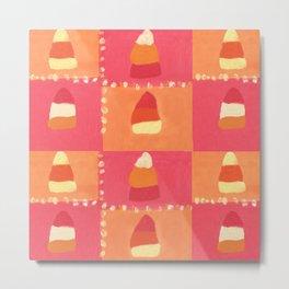 Pink and Orange Candy Corn Textile Print Metal Print