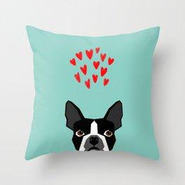 Boston Terrier - Hearts, Cute Funny Dog Cute Valentines Dog, Pet, Cute, Animal, Dog Love,  Throw Pillow