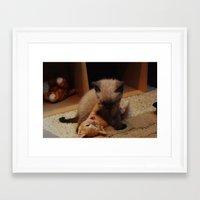 wrestling Framed Art Prints featuring Wrestling kitties by SydBoom