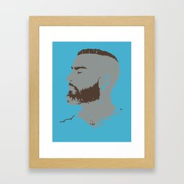Bearded Man I - Blue Framed Art Print