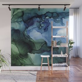 Blue Green Waves Abstract Ink Painting Wall Mural