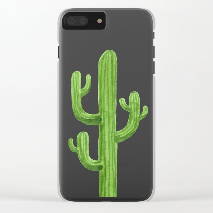Green Cactus on Black Clear iPhone Case