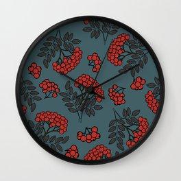 Red rowan on a dark grey background Wall Clock