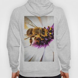 Springtime Honeybee On White African Daisy Hoody