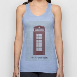 figure of a red telephone booth in England Unisex Tank Top