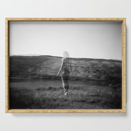 Ghost Girl on the Cliff's Edge - Black and White Film Double Exposure Serving Tray