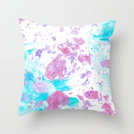 Pink and Blue Metallic Modern Abstract Throw Pillow