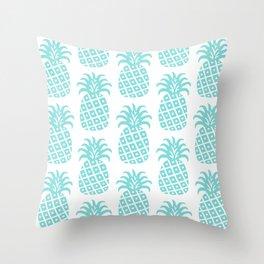 Retro Mid Century Modern Pineapple Pattern 731 Turquoise Throw Pillow