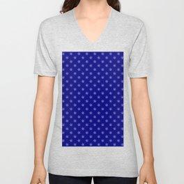 White on Navy Blue Snowflakes Unisex V-Neck