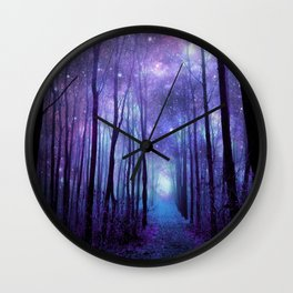 Fantasy Forest Path Icy Violet Blue Wall Clock