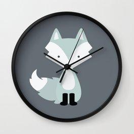 Winter Baby Fox Wall Clock